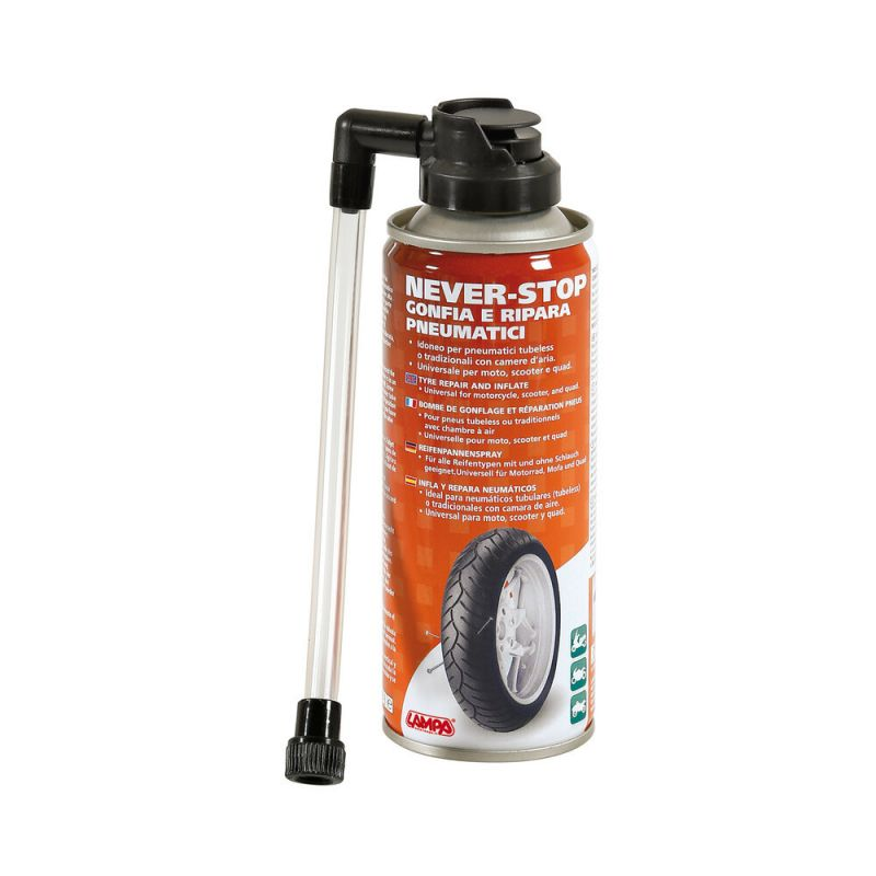 Lampa Never-Stop inflates and repairs tires